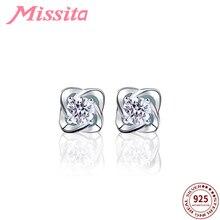 купить MISSITA 100% 925 Sterling Silver AAA Zircon Clover Earrings For Women Silver Jewelry Brand Wedding Stud Earrings HOT SELL Gift дешево