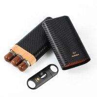 COHIBA Carbon Fiber 3 CT Cigar Case Travel Humidor Puro Box Cedar Wood Cigar Humidor Box Portable W/ Sharp Cigar V Cutter