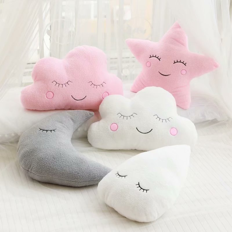 Cloud Moon Star Raindrop Plush Pillow Soft Cushion Kawaii Cloud Stuffed Plush Toys For Children Baby Kids Pillow Girl Gift