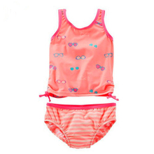 Model Kid Girls Two Pieces Swimsuit 2-7 Y Baby Girl Swimwear Orange with Glasses Print Children Bathing Suit Child Beach Wear girls baby girl palm print swimsuit with hat