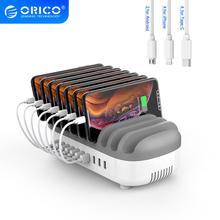 Orico 10 Poorten Usb Opladen Station 120W 5V 2.4A Opladen Dock 10 Gratis Kabels Voor Iphone Samsung Xiaomi telefoon Tablet