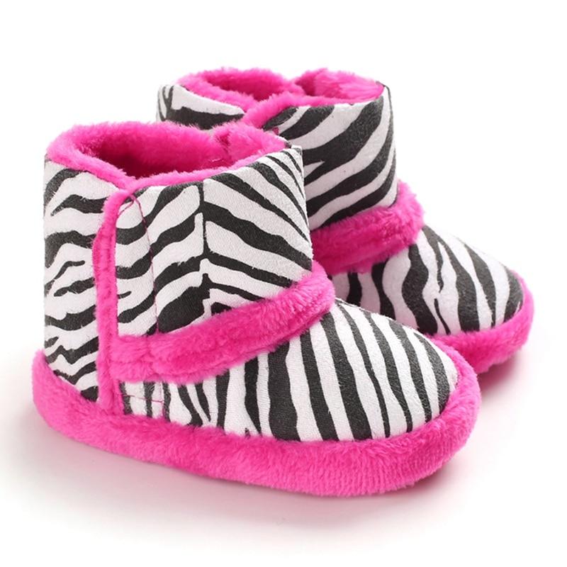 Winter Warm Baby Boots Children Boy Girl Casual Zebra Pattern Print Thicken Velvet Boots Baby Shoes Walking Shoe
