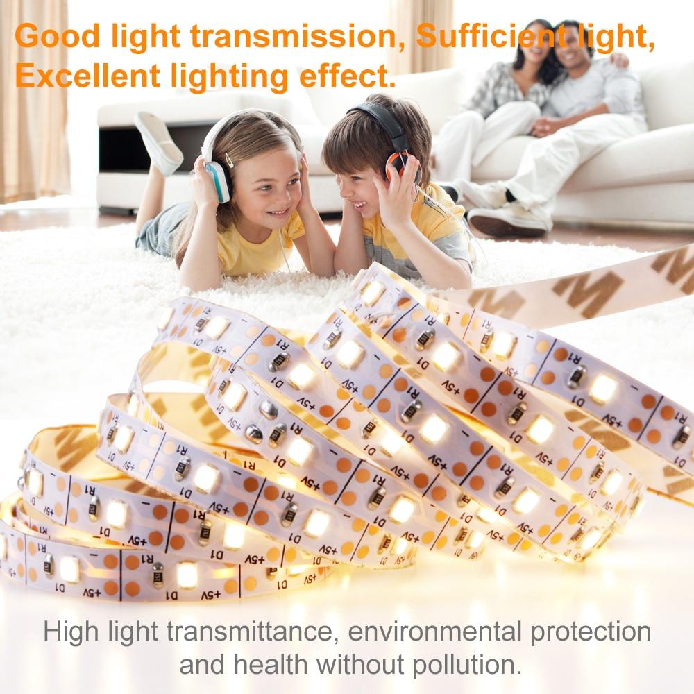 0 5M 5M EU US Plug 220V LED Strip Lights USB 5V Led Strip TV Backlight Lamp 2835 SMD Decorate Lighting Indoor Luces Led Navidad in LED Strips from Lights Lighting