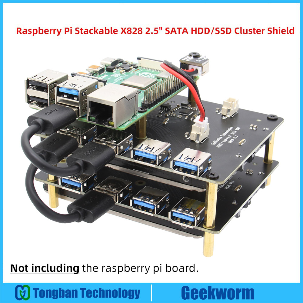 "Raspberry Pi SATA Adapter Stackable X828 USB3.0 2.5"" SATA HDD/SSD Cluster Storage Expansion Board+USB Hub For Pi 4B/3B+/3B"