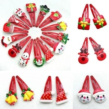 1/2/5/10Pcs Kids Girl Candy Hairpin 3D Funny Christmas Hair Clips Baby Hair Dress Xmas Barrettes Gift Photo Props. 3