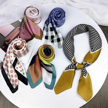 Women Dots Print Silk Scarf Girls Checked Marbling Printed Scarves Female Soft Spring Summer Foulard Floral Square