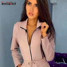 InstaHot Zipper Up Sexy Bodysuit Long Sleeve Women Autumn Romper Casual Slim High Street Office Lady Pink Black Bodysuit Fashion