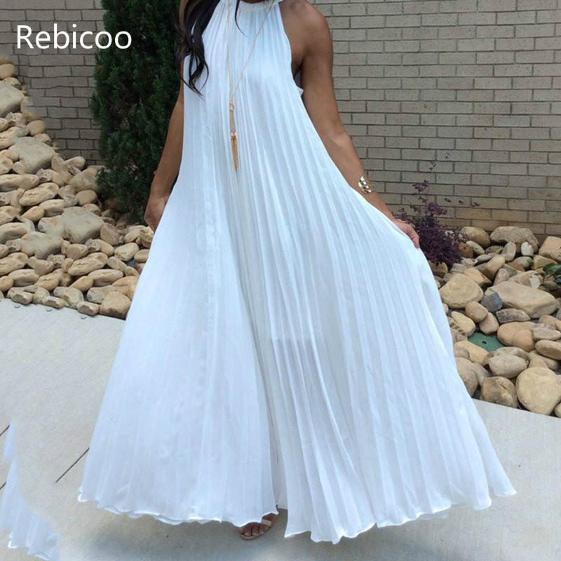 White Maxi Dress Women Sexy Off Shoulder Party Halter Elegant Evening Summer Loose Fashion Solid Blue Pleated Long Dresses