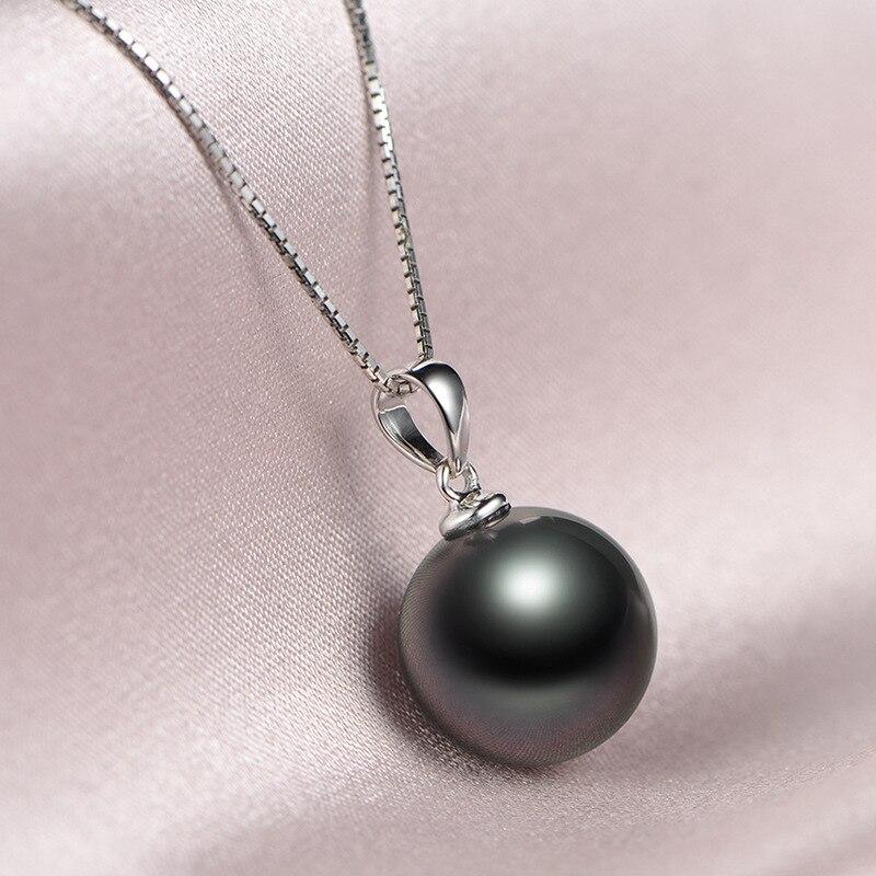 Einfache Weibliche Schwarze Perle Anhänger Halskette Klassische Silber Farbe Hochzeit Halsketten Für Frauen Trendy Braut Lange Kette Halskette