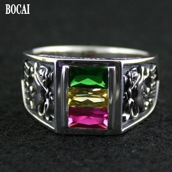 100% real  s925 pure silver ring rasta vibration three-color crystal ring for man