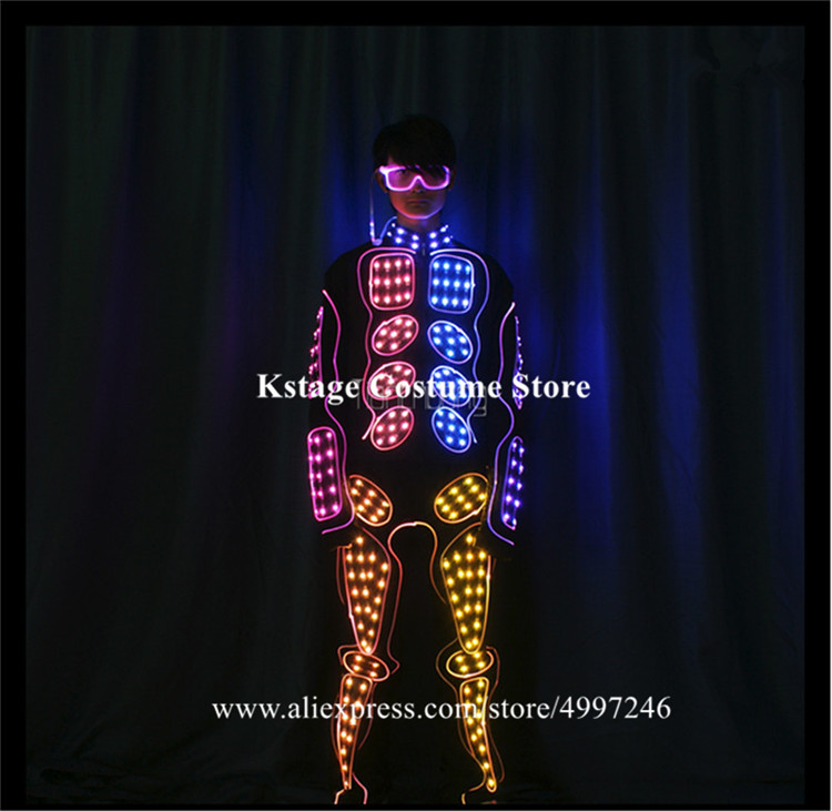 Programmable full color led robot men outfit full color dmx tron led dance costumes RGB light stage wears dj clothe colorful bar - 3