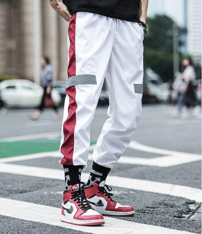 HIRIGIN NEW Mens Joggers Pants Side Striped Streetwear Hip Hop Sweatpants Grey Reflective Strip Man Harem Pants