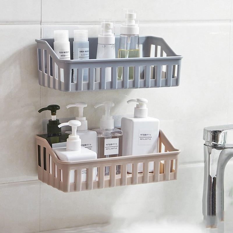 Montado Na parede Do Banheiro Prateleira Do Banheiro Rack De Armazenamento De Plástico Organizador para Shampoo Chuveiro Titular Organizador Rack De Cozinha de Casa