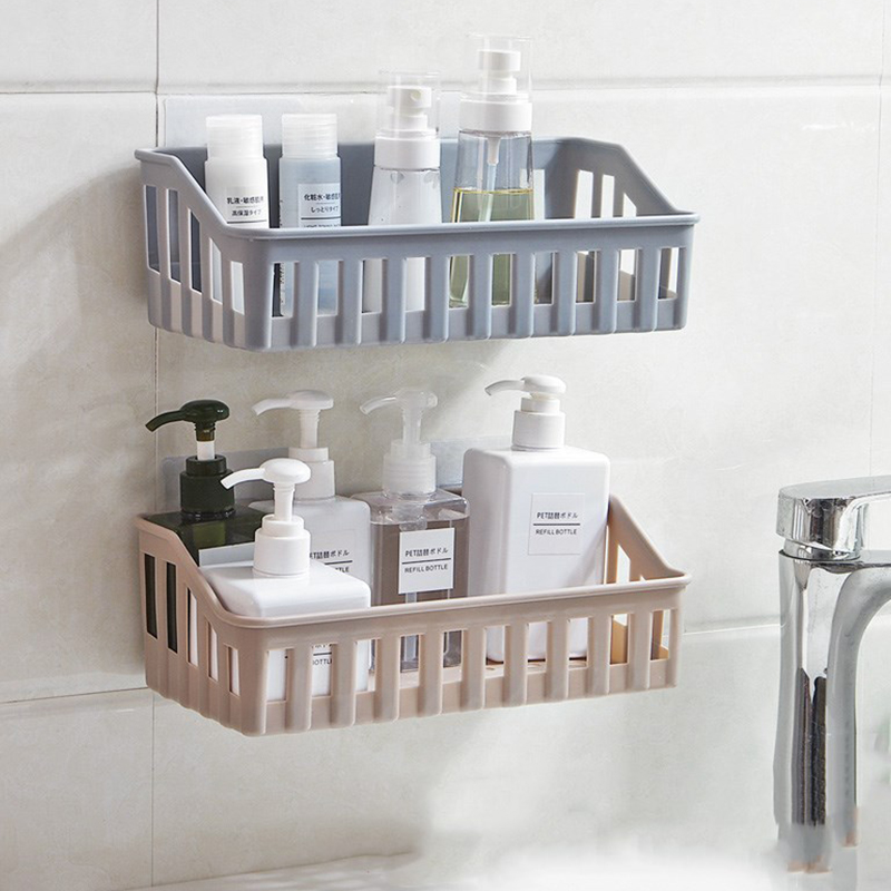 Wall Mounted Bathroom Storage Rack Plastic Bathroom Shelf Organizer For Shower Shampoo Holder Home Kitchen Rack Organizer