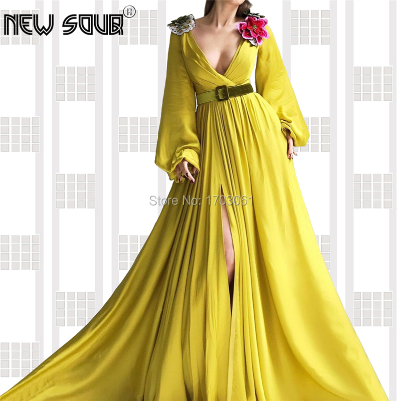 Muslim Embroidery Long Evening Dresses Long Sleeve Dubai Design Robe De Soiree 2019 New Saudi Arabic Split Side Prom Party Gowns