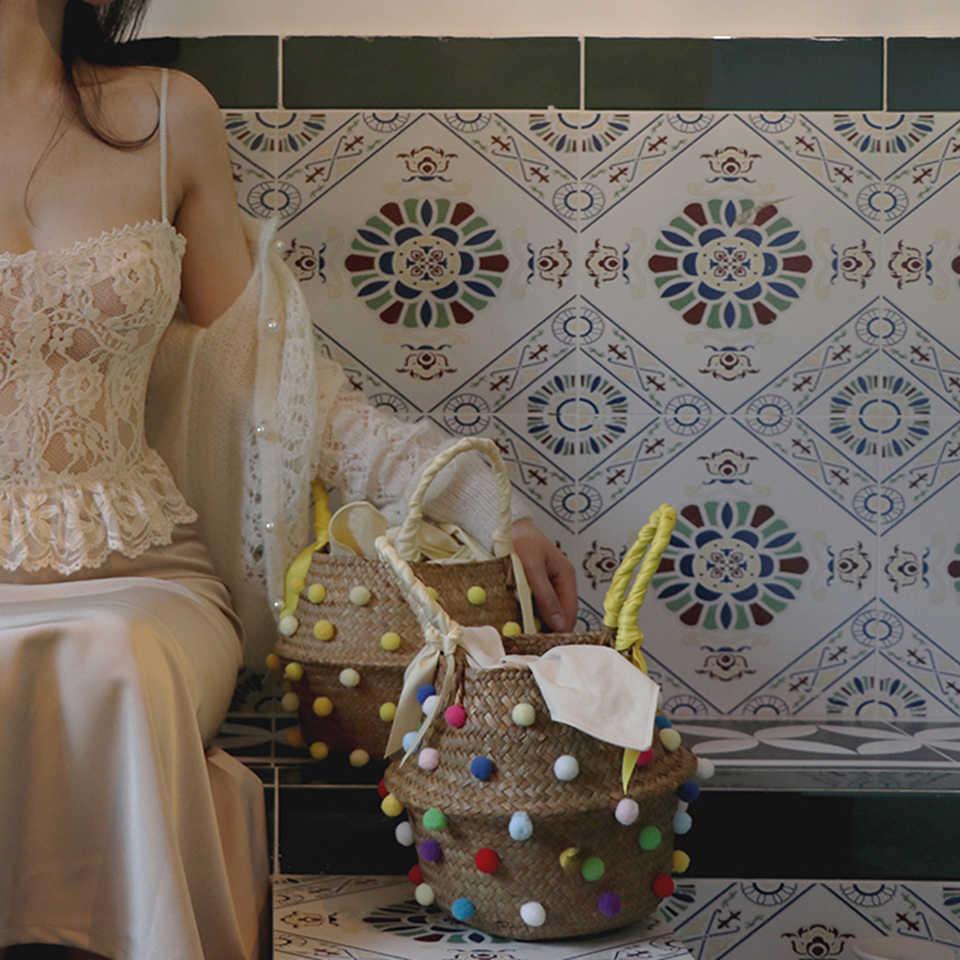 Oswego Mode Diamanten Stroh Handtasche Hand-woven Stroh Tasche Sommer Reise Einkaufen Böhmen Rattan Schulter Strand Tasche Frauen 2020