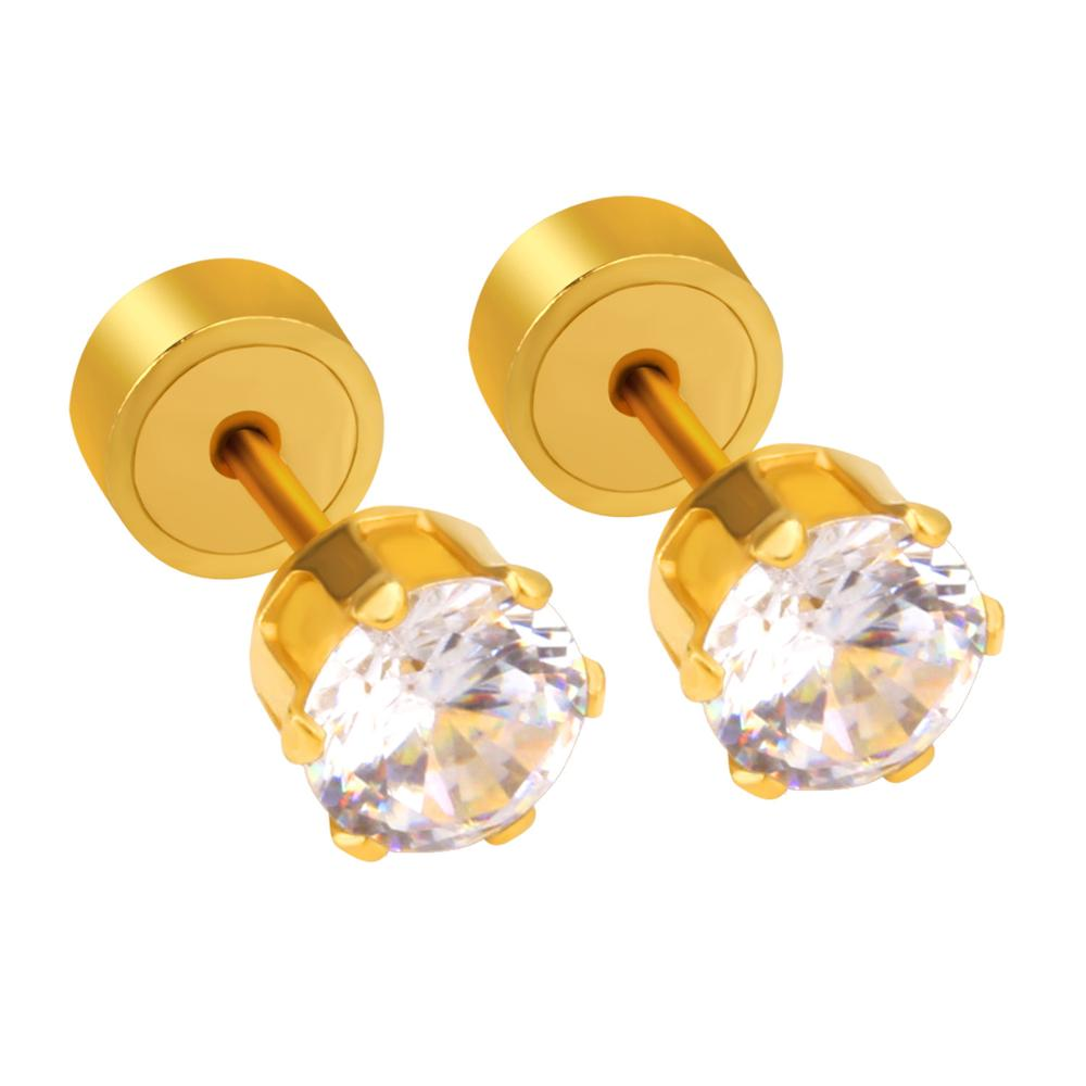 LUXUKISSKIDS Anak Pria Anting Untuk Wanita Fashion Jewelry 3-5 MM Stainless Steel Putaran Cubic Zirconia Earrings Brinco oorbellen