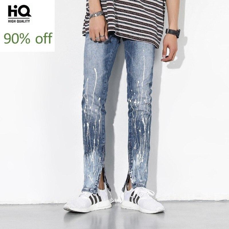 High Street Side Zipper Stretch Jeans Men Washed Blue Print Slim Fit Mens Brand Jeans Pants 2020 Cowboy Trousers Male Streetwear