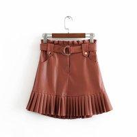 Стильная шикарная мини-юбка из искусственной кожи с поясом Za модная женская плиссированная юбка миди с высокой талией Повседневная Уличная...