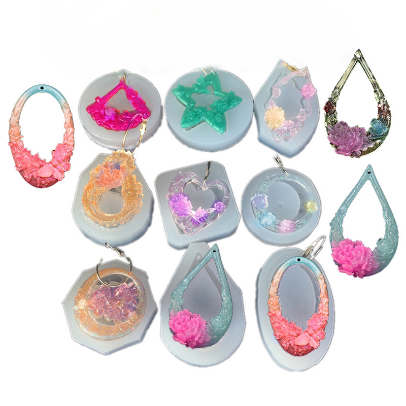 SNASAN Hollow Classical Style Pendants Earrings Silicone Mold For Jewelry Resin Jewelry Making Tool UV Epoxy Resin Molds Crafts