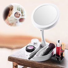 LED Lighted Folding Makeup Mirror Magnifying With Lights Vanity Table Stand Mirrors Foldable Drop Ship