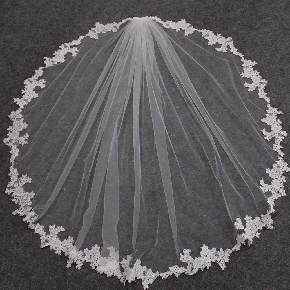 New Lace Appliques Short Wedding Veil With Comb One Layer 120CM Bridal Veil Veu De Noiva Bride Accessories