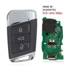 Llave remota inteligente para coche, dispositivo sin llave, MQB, 434Mhz, con Chip ID48, para VW Passat B8 Magotan Superb A7 Variant, Año 2014-2020
