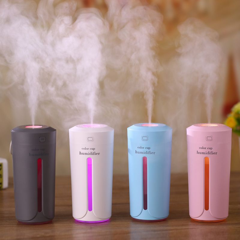 Car air purifier LED aroma diffuser Portable silent humidifier Ultrasonic Mini USB Nebulizer Color cup car air freshener