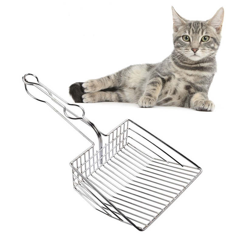 2019 Pet Supplies Cats Litter Scooper Stainless Steel Cleaning Shovel Sift Free Metal Pooper Scoopers For Pet Litter Box HOT