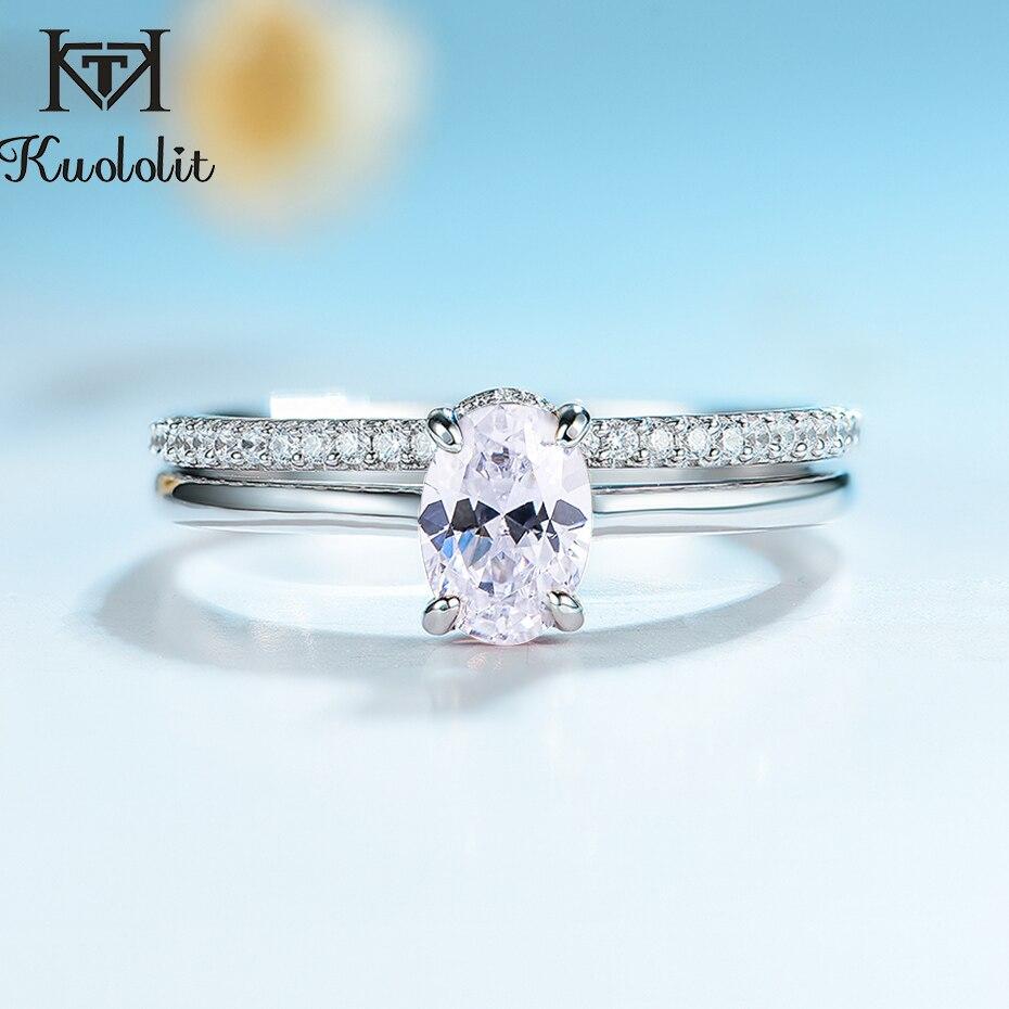 Kuolit-bagues en argent Sterling 925 pour femmes, empilables, bijoux fins, fiançailles, cadeau de mariage, classique romantique