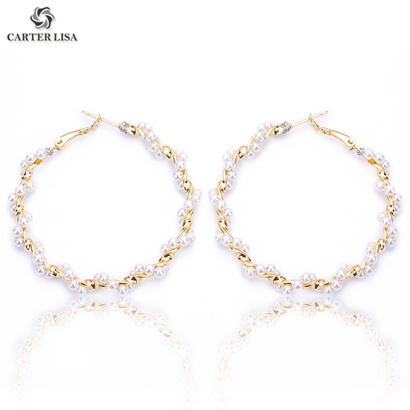 CARTER LISA Spiral Pearl Hoop Earrings Charm Gold Plating For Women Girl 2019 Fashion Jewelry Party Gifts