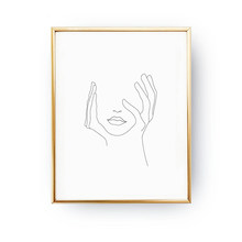 Hands On Face Lips Wall Art Canvas Posters Prints Sketch Art Line Drawing Painting Minimalist Woman Wall Picture Home Decoration(China)