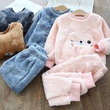 Детские пижамы; зимние фланелевые бархатные пижамные комплекты; пижамы для маленьких девочек; пижамы для мальчиков; ночная рубашка с мультяшным принтом; теплая плюшевая одежда для сна