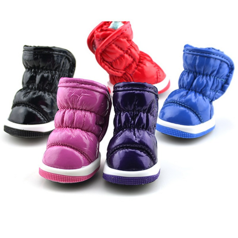 4 Pcs/Sets Winter Dog Shoes For Small Dogs Warm Fleece Puppy Pet Shoes Waterproof Dog Snow Boots Chihuahua Yorkie Teddy Shoes