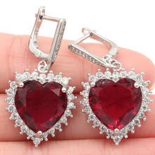 37x19mm Romantic Heart Shape Pink Raspberry Rhodolite Garnet CZ Womans Gift Silver Earrings