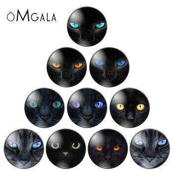Gran oferta, 10pcs1 2/14/16/18/20/22/25/30mm, Ojos de gato y gato negro, foto hecha a mano, cabujones de cristal, estilo gota, accesorios de joyería