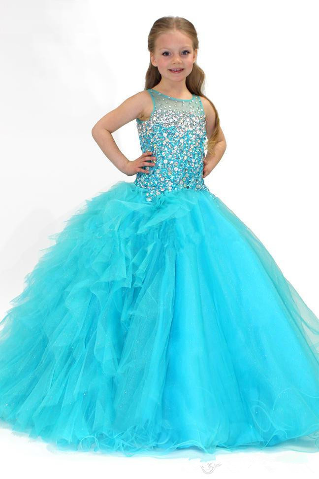 Turquoise Girls Pageant Dresses Ball Gown Scoop Tulle Beaded Crystals Long Flower Girl Dresses For Weddings Little Girls
