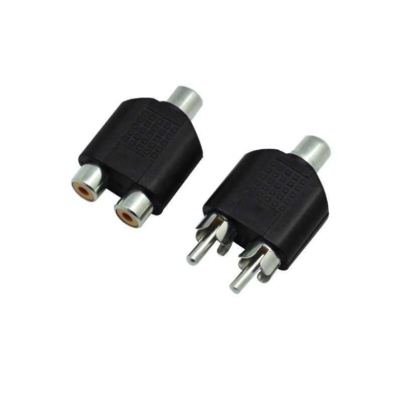 RCA Y Splitter AV Audio Video Plug Converter Male Female Plug 2 In 1 Adapter 1 Pcs