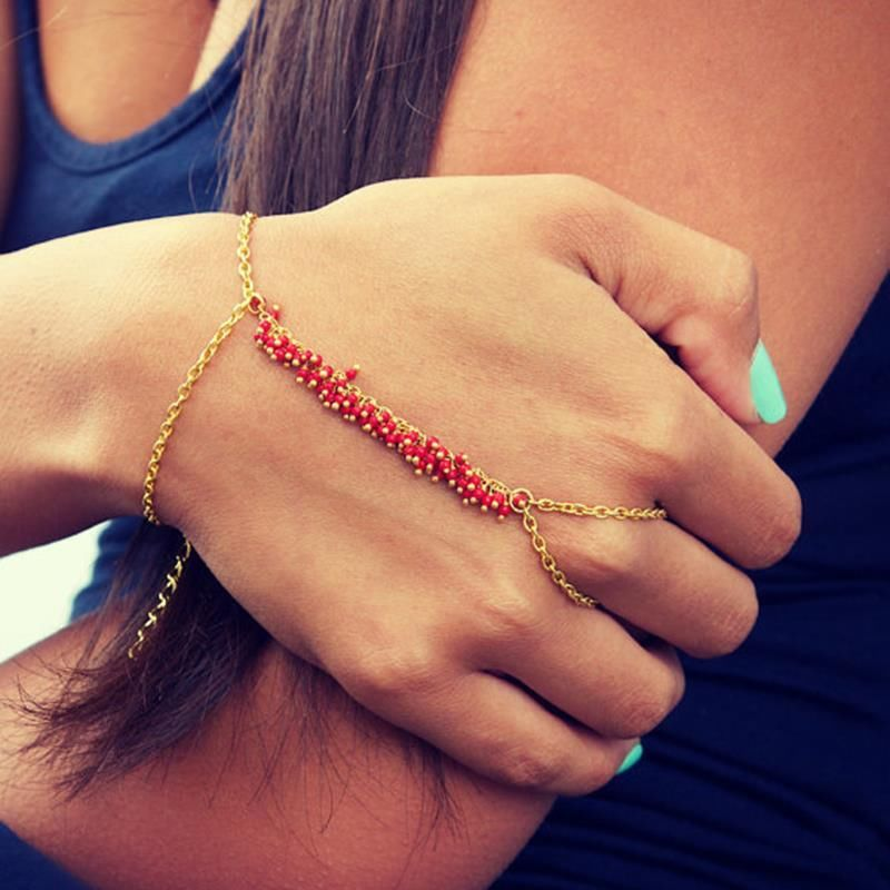 Fashion Women Metal Hand Harness Chain Turquoise Bead Slave Finger Ring