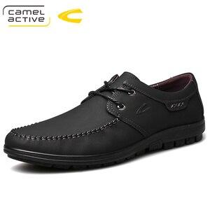 Image 1 - 낙타 활성 새로운 정품 가죽 남성 신발 여름 가을 비즈니스 캐주얼 신발 경량 편안한 레이스 업 편안한 신발