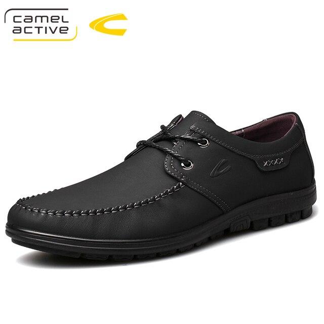 낙타 활성 새로운 정품 가죽 남성 신발 여름 가을 비즈니스 캐주얼 신발 경량 편안한 레이스 업 편안한 신발