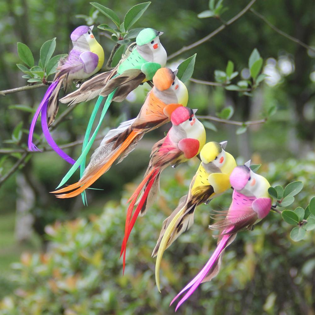 12Pcs Multicolor Artificial Foam Animal Bird Clip Clamp Home Garden Ornament Vivid color bird decorated, shiny and beautiful