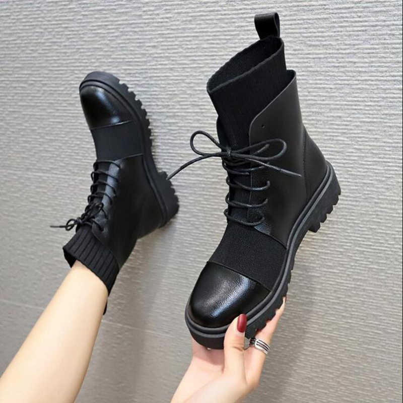 Bahar çizmeler kadın ayakkabıları kadın çizmeler moda düz yuvarlak PU yarım çizmeler 2019 bahar elastik dantel siyah çizmeler rahat botlar