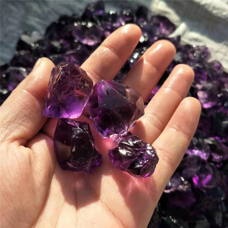1 pc, 40g-60g pierre semi-précieuse naturelle pierre gemme graviers rugueux Transparent améthyste cristal pierres tombées pour la guérison - 3