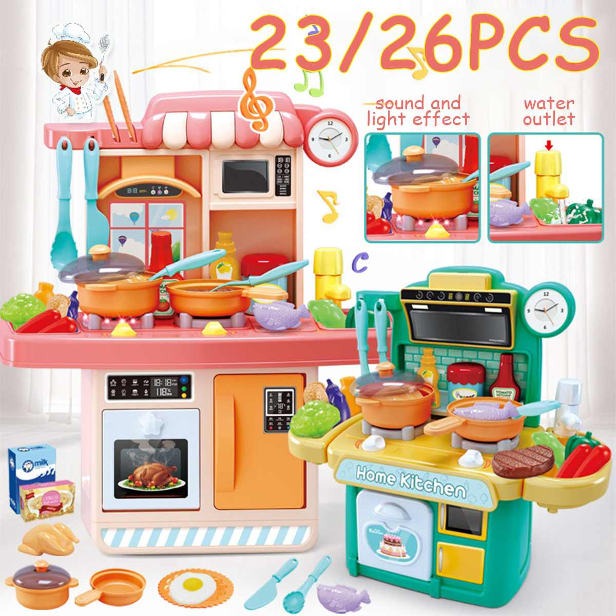 23/26Pcs Kid Kitchen Toys Simulation Kitchen Toy Spray Water Dinnerware Pretend Play Kitchen Cooking Table Set Children's Gift