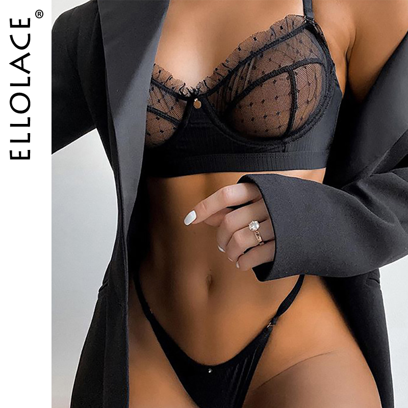 Ellolace Ruffle Lace Lingerie Set Sexy Bra Party Sets Mesh Transparent Black Push Up Lingerie Sets Black 2 Piece Set Lingeries