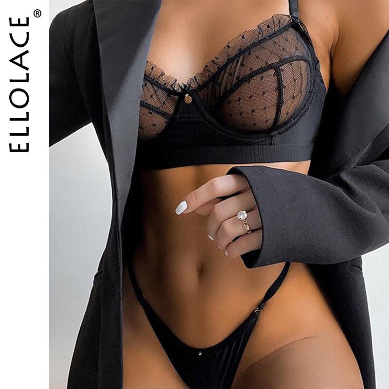 Ellolace volants dentelle ensemble de Lingerie Sexy femmes sous-vêtements Transparent soutien-gorge fête ensembles dentelle noir Lingerie soutien-gorge ensemble de sous-vêtements