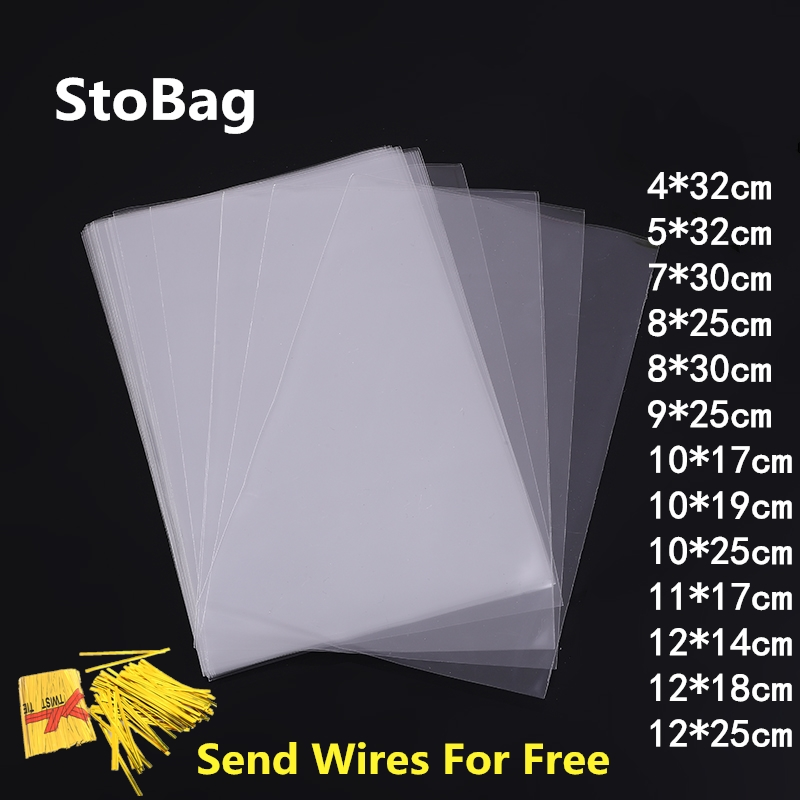StoBag 200pcs Long Clear Open Top Plastic Bag OPP Candy Cookie Gift Packaging Bag Flat Food Lollipop Bakery Wedding Party  Pouch