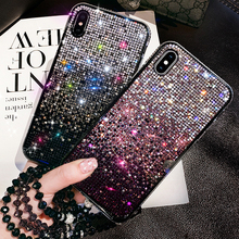 For iPhone X XS Max XR 6S 7 8 Plus 11 Pro Case Glitter Rhinestone Bling Gradient Diamond Cover Sparkling Bumper Frame With Strap elegant rhinestone alluminum alloy bumper frame for iphone 5 golden