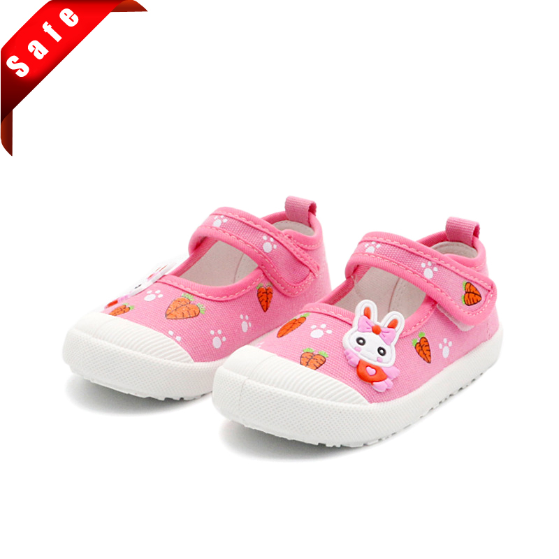 JGSHOWKITO Girls Canvas Shoes Soft Sports Shoes Kids Running Sneakers Candy Color With Cartoon Rabbit Carrots Prints Children